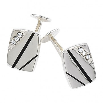 Sterling Silver Enamel and Crystal Cufflinks
