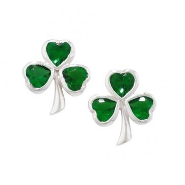 Sterling Silver Green Shamrock Stud Earrings