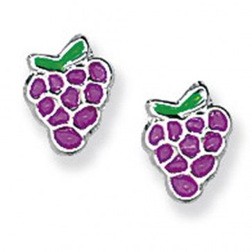 Childrens Sterling Silver Purple Grape Stud Earrings