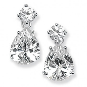 Childrens Sterling Silver Pear Drop Cubic Zirconia Earrings