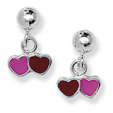 Childrens Sterling Silver Pink & Red Double Heart Drop Earrings
