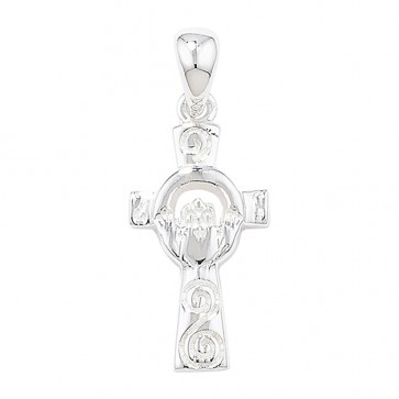 Children's Sterling Silver Claddagh Cross Pendant On A Curb Necklace
