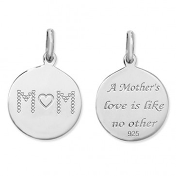 Sterling Silver Double Sided Mum Pendant On A Snake Necklace