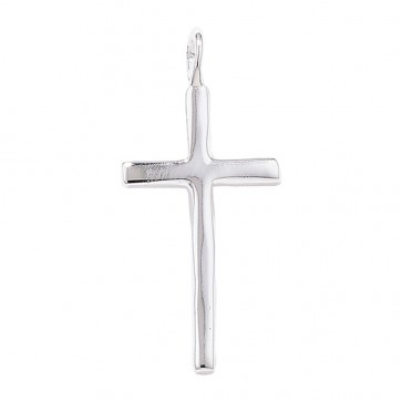 Men's Sterling Silver Plain Cross Pendant On A Black Leather Cord Necklace