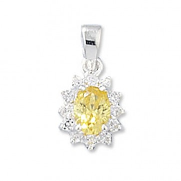 Sterling Silver Yellow Cubic Zirconia Pendant On A Snake Necklace