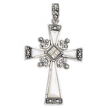 Children's Sterling Silver Mother Of Pearl & Marcasite Cross Pendant On A Curb Necklace