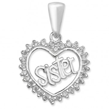 Children's Sterling Silver Cubic Zirconia Sister Heart Pendant On A Curb Necklace
