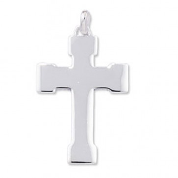 Sterling Silver Plain Cross Pendant On A Snake Necklace