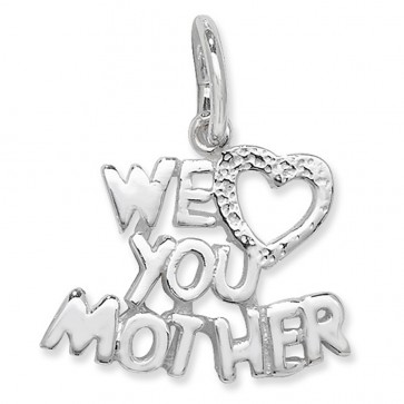 Sterling Silver We Love You Mother Pendant On A Snake Necklace