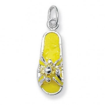 Children's Sterling Silver Yellow Flip Flop Pendant On A Curb Necklace