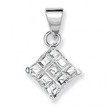 Children's Sterling Silver Cubic Zirconia Square Pendant On A Curb Necklace
