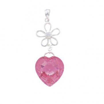 Sterling Silver Pink Heart Drop Pendant On A Snake Necklace