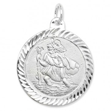 Children's Sterling Silver Round St Christopher Pendant On A Curb Necklace