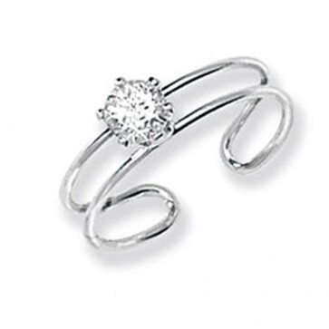 Sterling Silver Cubic Zirconia Toe Ring