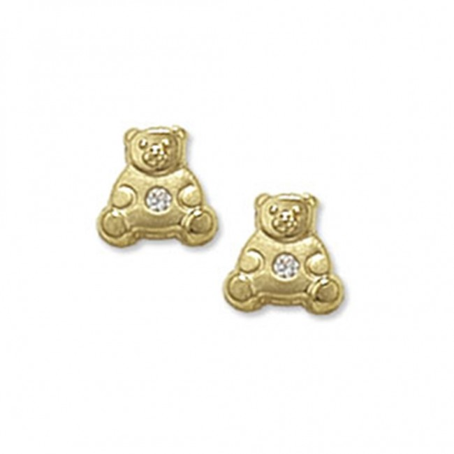 0706b2e283f64 Childrens 9ct Gold Teddy Bear With Cubic Zirconia Stud Earrings
