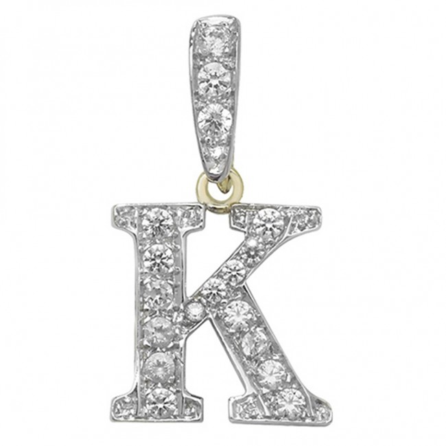 9ct Gold Cubic Zirconia Initial K Pendant On A Belcher Necklace