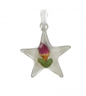 Sterling Silver Real Red Rose Flower Star Pendant