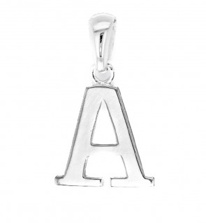 Solid Sterling Silver Letter A Initial Pendant On A Snake Necklace