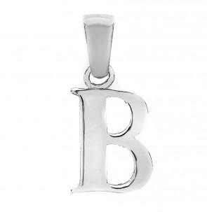 Solid Sterling Silver Letter B Initial Pendant On A Snake Necklace