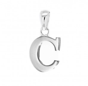 Solid Sterling Silver Letter C Initial Pendant On A Snake Necklace