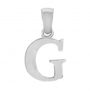Solid Sterling Silver Letter G Initial Pendant On A Snake Necklace