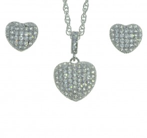 Sterling Silver Cubic Zirconia Heart Shape Necklace and Earring Set in a Red Heart Gift Box