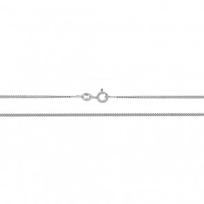 9ct White Gold Curb Chain Necklace - 1mm Thick - Various Lengths - 16, 18, 20, 22 and 24 Inch Long