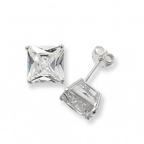 Sterling Silver 10MM Cubic Zirconia Square Stud Earrings