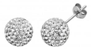Sterling Silver 10MM Clear Crystal Stud Earrings