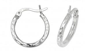 Sterling Silver 10MM Diamond Cut Square Tube Hoop Earrings
