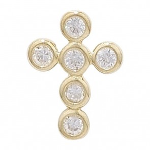 Men's 9ct Gold 6 Stone Cubic Zirconia Cross Pendant On A Curb Necklace