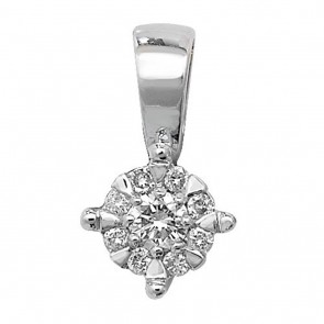 Children's 9ct White Gold 0.08ct Diamond Pendant On A Prince of Wales Necklace