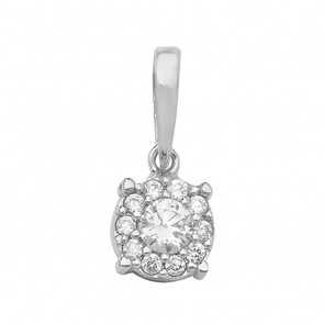 Children's 9ct White Gold Cubic Zirconia Round Pendant On A Prince of Wales Necklace