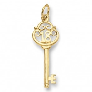 Men's 9ct Gold 18th Key Pendant On A Curb Necklace