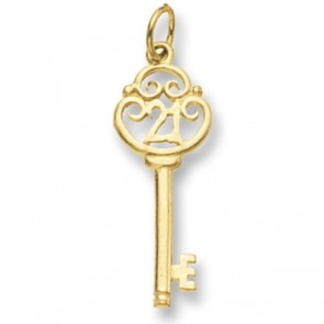 Men's 9ct Gold 21st Key Pendant On A Curb Necklace