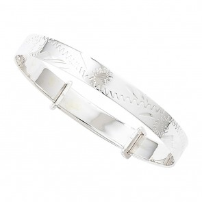 Childrens Sterling Silver Expandable Patterned Bangle
