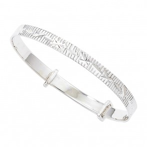 Childrens Sterling Silver Engraved Expandable Christening Bangle