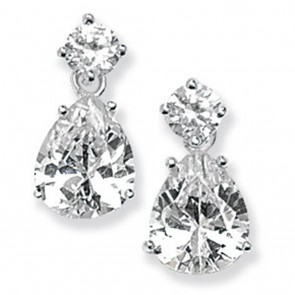 Childrens Sterling Silver Pear Drop Cubic Zirconia Earrings