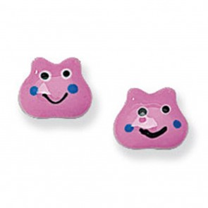 Childrens Sterling Silver Pink Smiley Face Stud Earrings