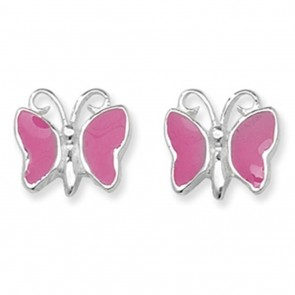 Childrens Pink Butterfly Stud Earrings